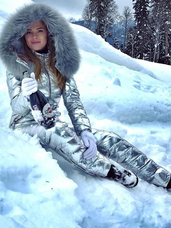 f8dc17844 Onesies Silver & Gold Waisted Goose Down Ski Suit in 2019 | Down ...