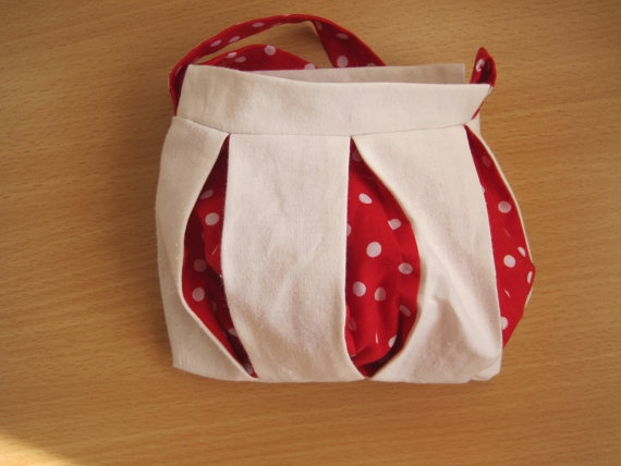 White and red polka dot wristlet pouch by NewLifeBags on Etsy