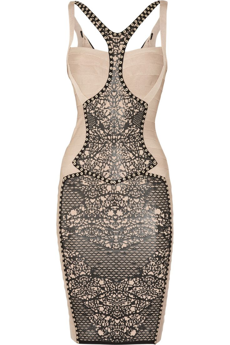 Hervé Léger faux leather bandage dress