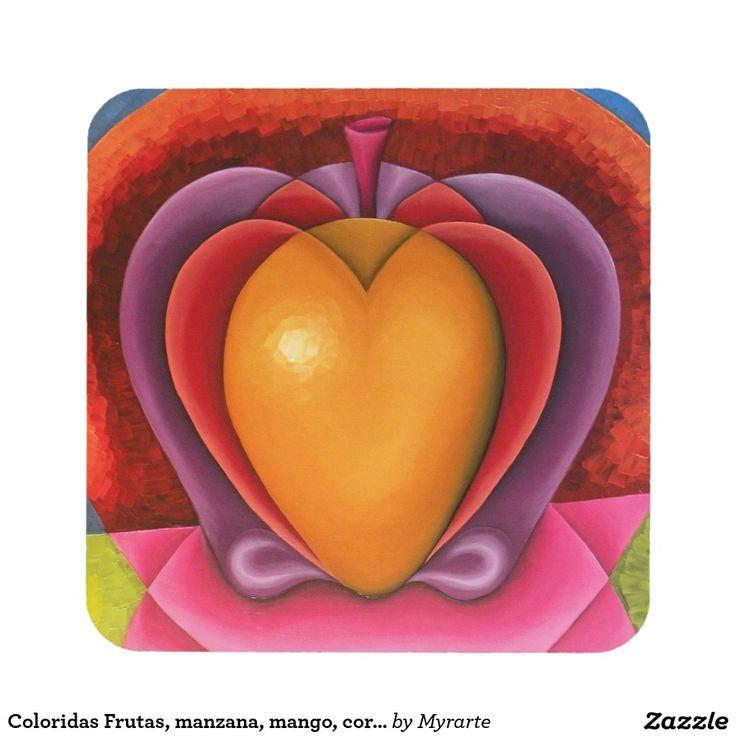 Coloridas Frutas, manzana, mango, corazón. Posavaso Decorativo Coaster, home decor, decoración. Producto disponible en tienda Zazzle. Decoración para el hogar. Product available in Zazzle store. Home decoration. Regalos, Gifts. Link to product: http://www.zazzle.com/coloridas_frutas_manzana_mango_corazon_drink_coaster-163441502242249432?CMPN=shareicon&lang=en&social=true&rf=238167879144476949 #posavaso #coaster
