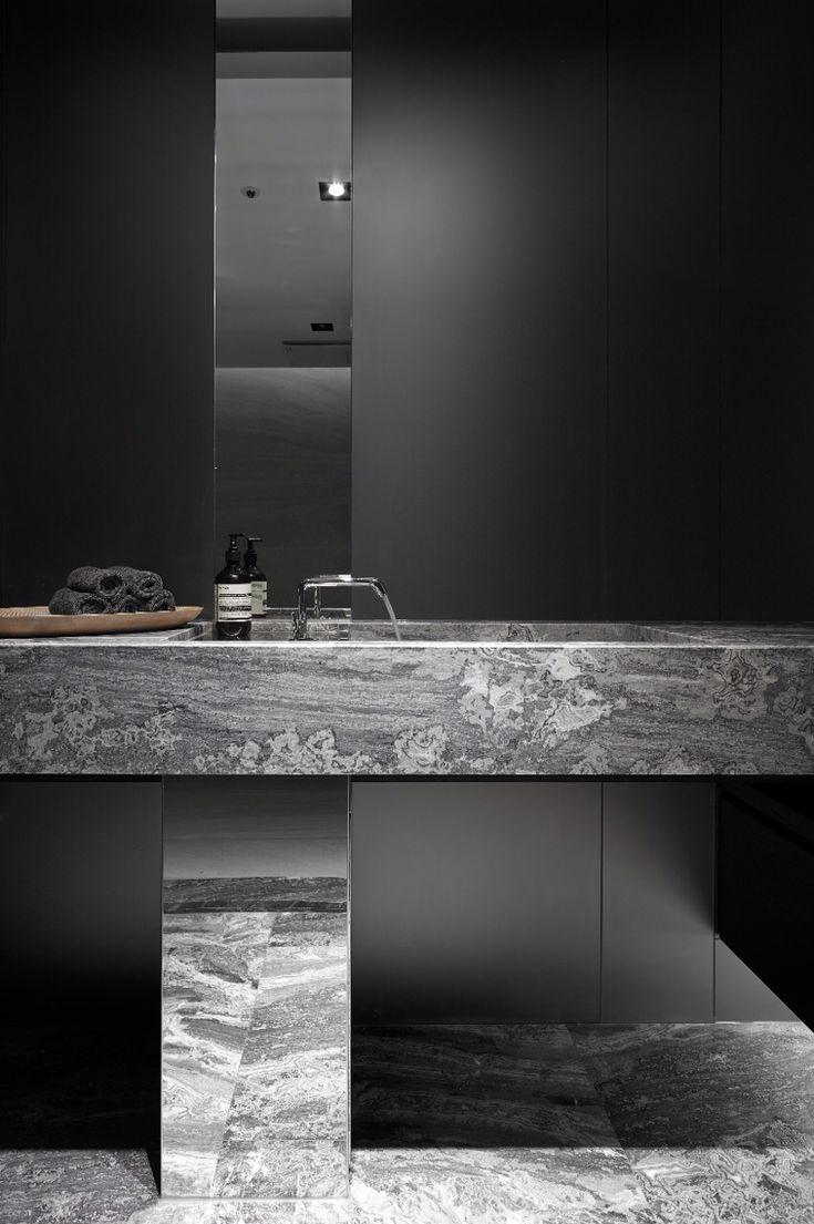 Custom modern marble vanity pedestal and integral sink. #interiordesign #bathrooms #spalife