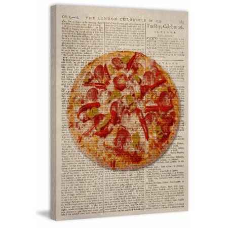 Spicy Pizza Painting Print on Wrapped Canvas, Size: 30 inch x 45 inch, Multicolor