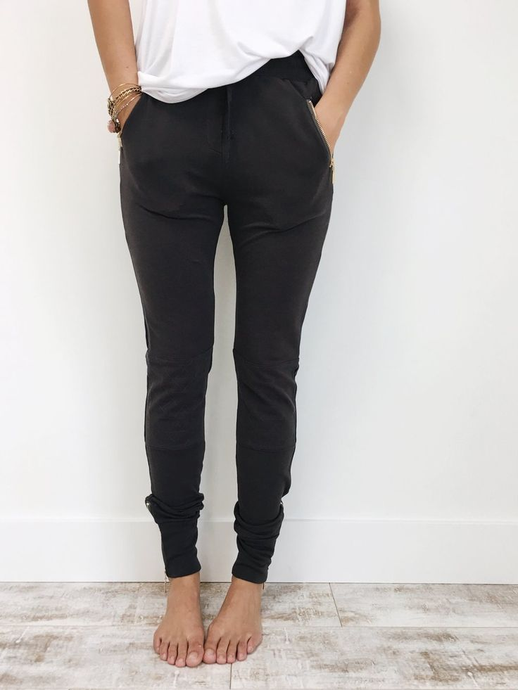 Moto Joggers in Charcoal   ROOLEE