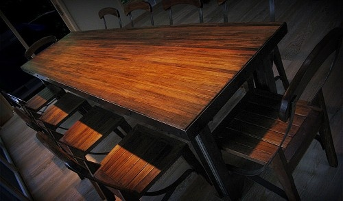 Made from reclaimed bowling lanes