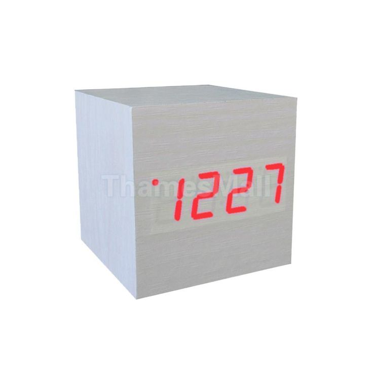 Square Digital Snooze Alarm Clock Red Led Dimmer Backlight Temperature White