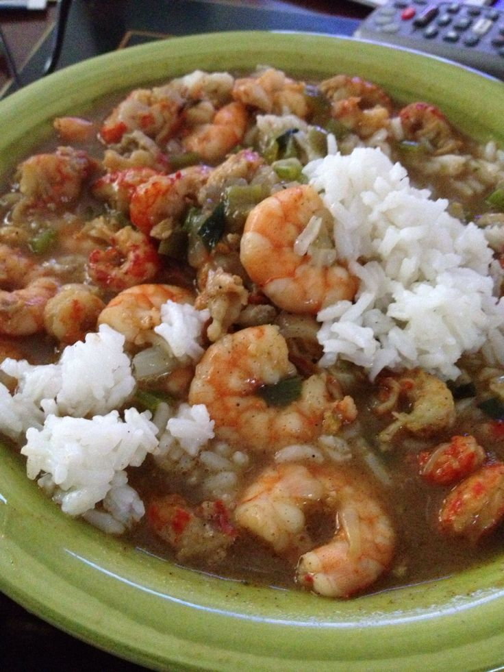 Crawfish and shrimp gumbo, a Louisiana family tradition.