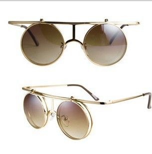 2013 Retro Vintage Steampunk Mens/Womens Sunglasses Costume Round clip on  sun glasses double lens