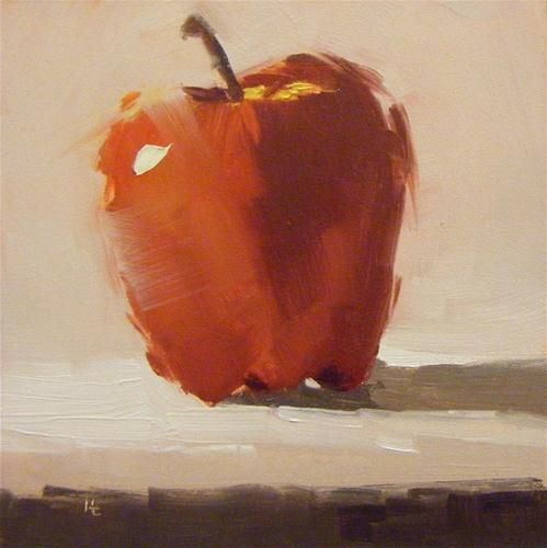 """Daily Paintworks - """"APPLE DAY"""" by Helen Cooper 4*4"""
