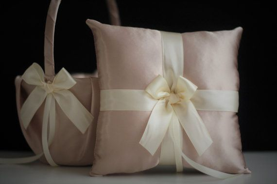 Champagne Wedding Basket Beige Ring Bearer Pillow by AlexEmotions