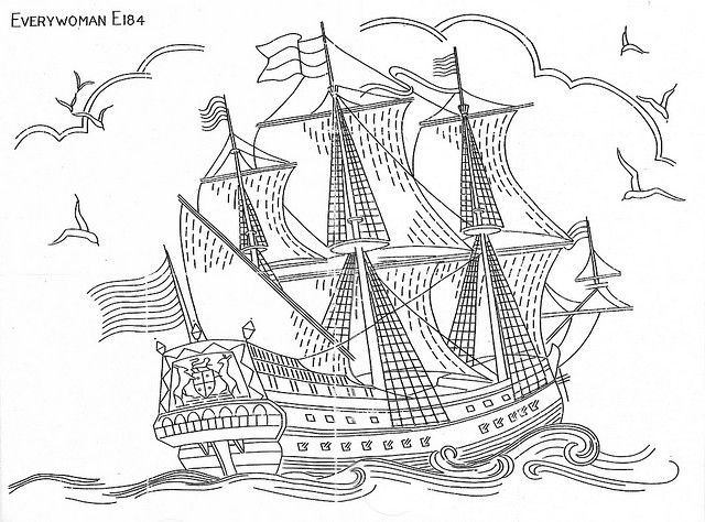 A collection of ship patterns for embroidery at the link on Flickr.