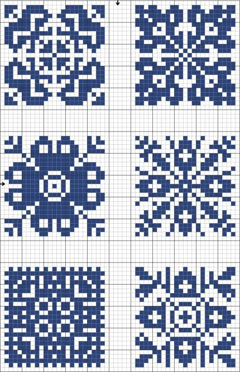 Blue tiles 04 | Free chart for cross-stitch, filet crochet | gancedo.eu **TONS of filet patterns!!