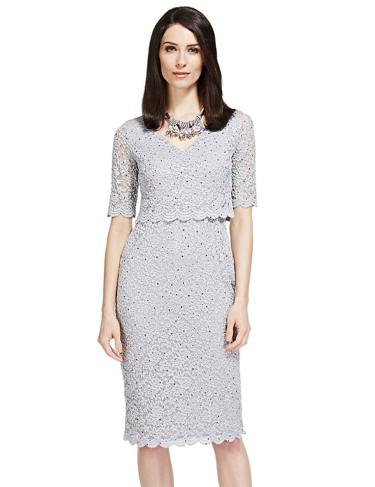 Double Layered Scallop Floral Lace Dress