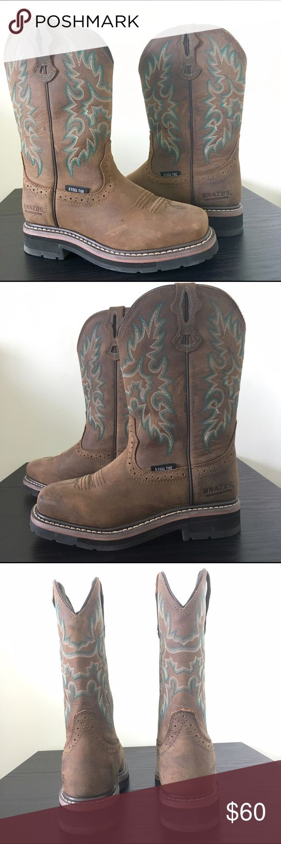 Brazos steel toe cowboy boots brown Steel toe cowboy boots by Brazos. Size 6. Protective and safe but also fashionable! Only wore these once! Brazos Shoes