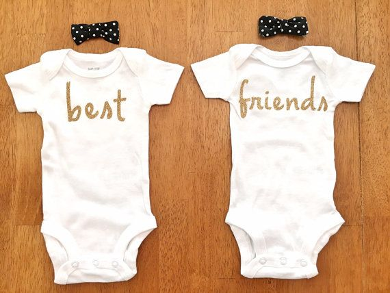 Best Friends Onesies Free Shipping by SimplyHappyBabyCo on Etsy Perfect for twins or any little best friends :) #babyonesie #twinonesie #twinonesies #twingirls #bestfriends #bestfriendsonesies