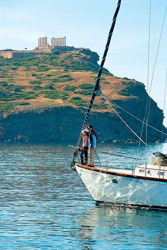 Sailing at Cape Sounion, Greece