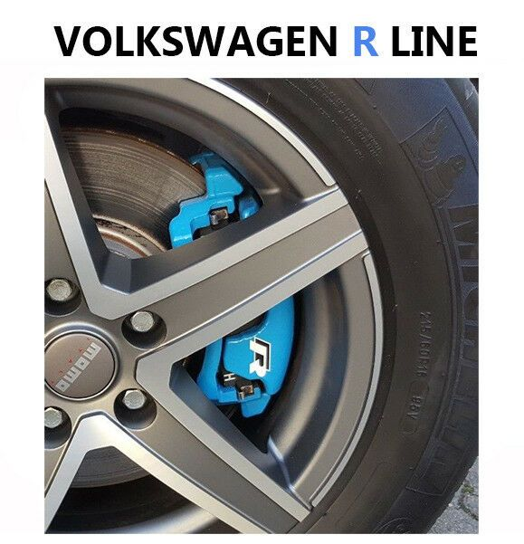Set Of 4 X Brake Caliper Decal Stickers Compatible With Volkswagen