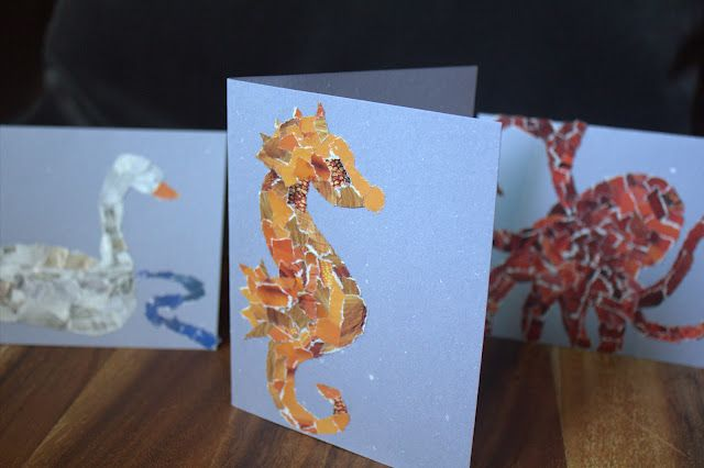 Using Up Your Paper Scraps to Make Mosaic Cards. Cute, creative way to recycle! #DIY #Cards