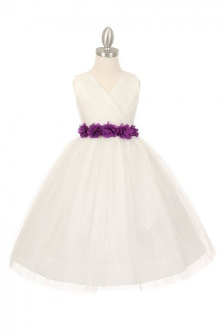 04aad35353f Ivory Silver Tulle V-Neck with Removable Floral Sash Flower Girl Dress