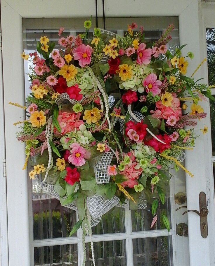 XL Summer Wreath, SHIPPING INCLUDED Luxury Silk Floral,Mesh Grapevine Wreath,  Elegant Front