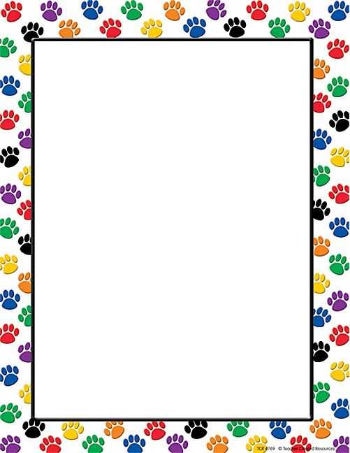 Colorful paw prints computer paper binder and school - Paw print wall border ...