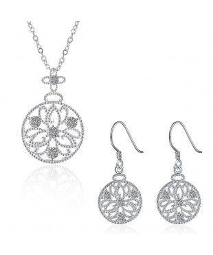 Floral Pendant Jewellery Set