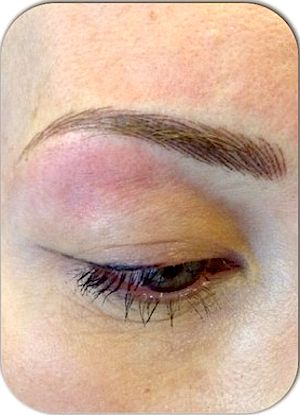 Beautiful example of semi-permanent eyebrow tattooing, The perfect brows, the treatment is a regular and performed by Mary Spence of MDB