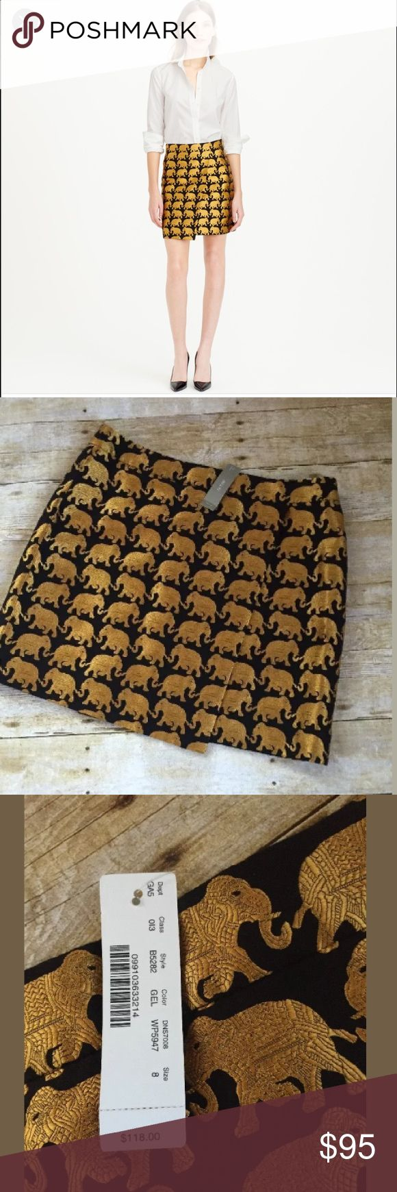 J Crew Elephant Parade Origami Skirt New with tags J. Crew Elephant Parade Origami Skirt Black Gold Size 8 NWT. Minor pull in black fabric on front of skirt as noted in 6th photo. Item sold as is J. Crew Skirts