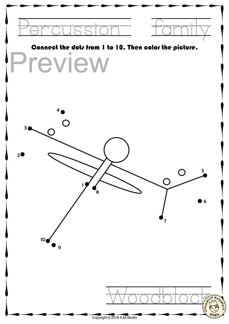 Musical Instruments Dot to dot Worksheets Bundle Musical
