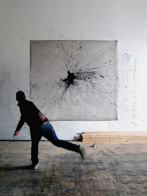 paint...I would love to do this someday. Just throw paint at a blank canvas. :)