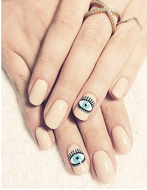Neutral nail art with blue eye pattern - Best 25+ Evil Eye Nails Ideas On Pinterest Heart Nails