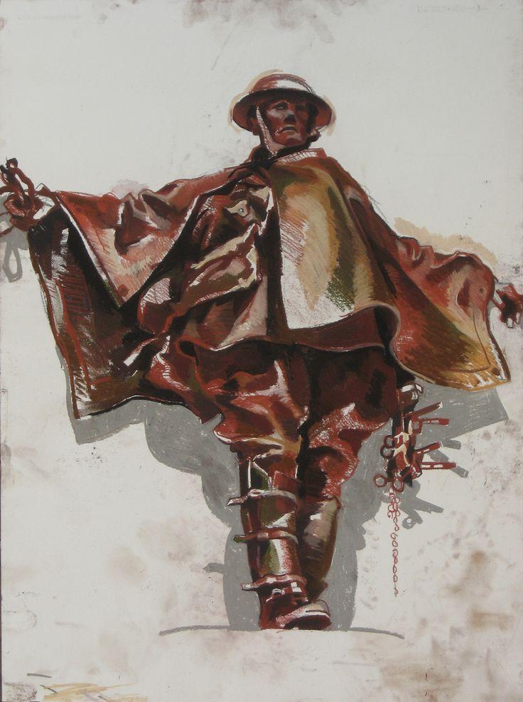 Lachlan Goudie | War Memorial; Pastel And Chalk On Paper; 52x64cm | Detail