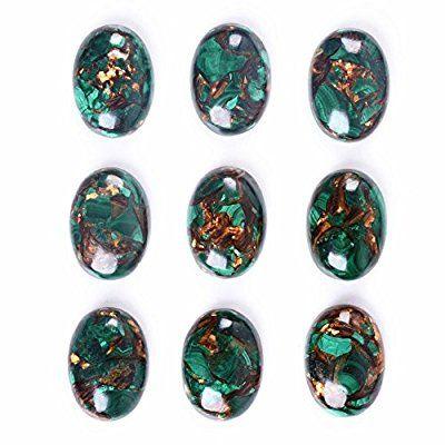 Wholesale 25mm Oval cabochon CAB flatback semi-precious gemstone 5pcs (Copper malachite)