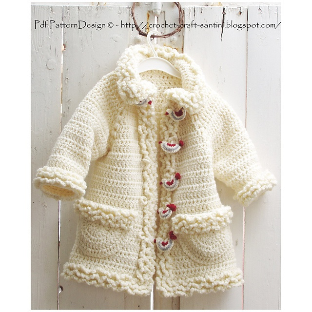 Ravelry: Winter White Sophie Coat with Bird-Buttons , Crochet pattern by Ingunn Santini 7,50 uro
