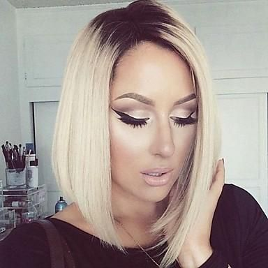 Women Synthetic Lace Front Short Blonde Ombre Dark Roots Bob wigs