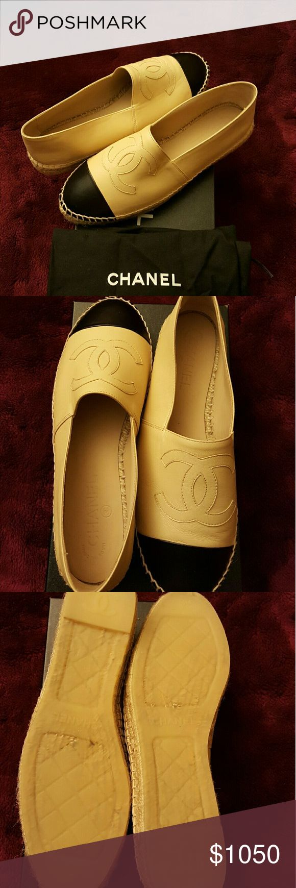 Chanel black/beige espadrilles size 9 NWT Chanel beige/black leather espadrilles. Original box and dust bag for shoes included. Size Eur 39 / Size 9. Condition: New with tags. Original box included. No visible signs of wear. CHANEL Shoes Espadrilles