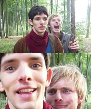 On those bad days, just imagine Bradley James making these faces over some random person's shoulder