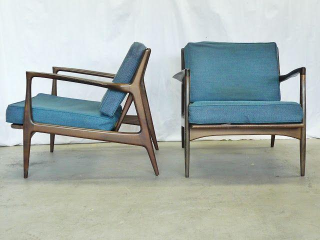 SELIG Danish Modern IB KOFOD LARSEN Mid Century Vintage LOUNGE CHAIRS