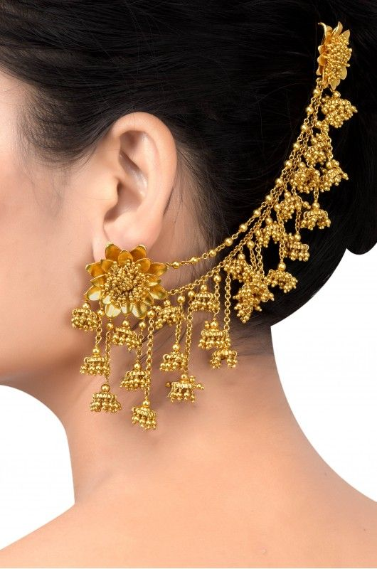 Silver Gold Plated Multi Jhumki Flower Earrings