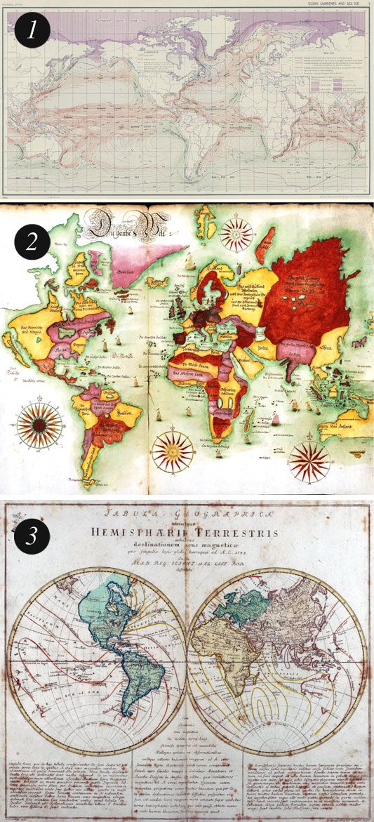free vintage maps - printable.  It would be fun to print these and trace them onto household items, like a lampshade or dresser.
