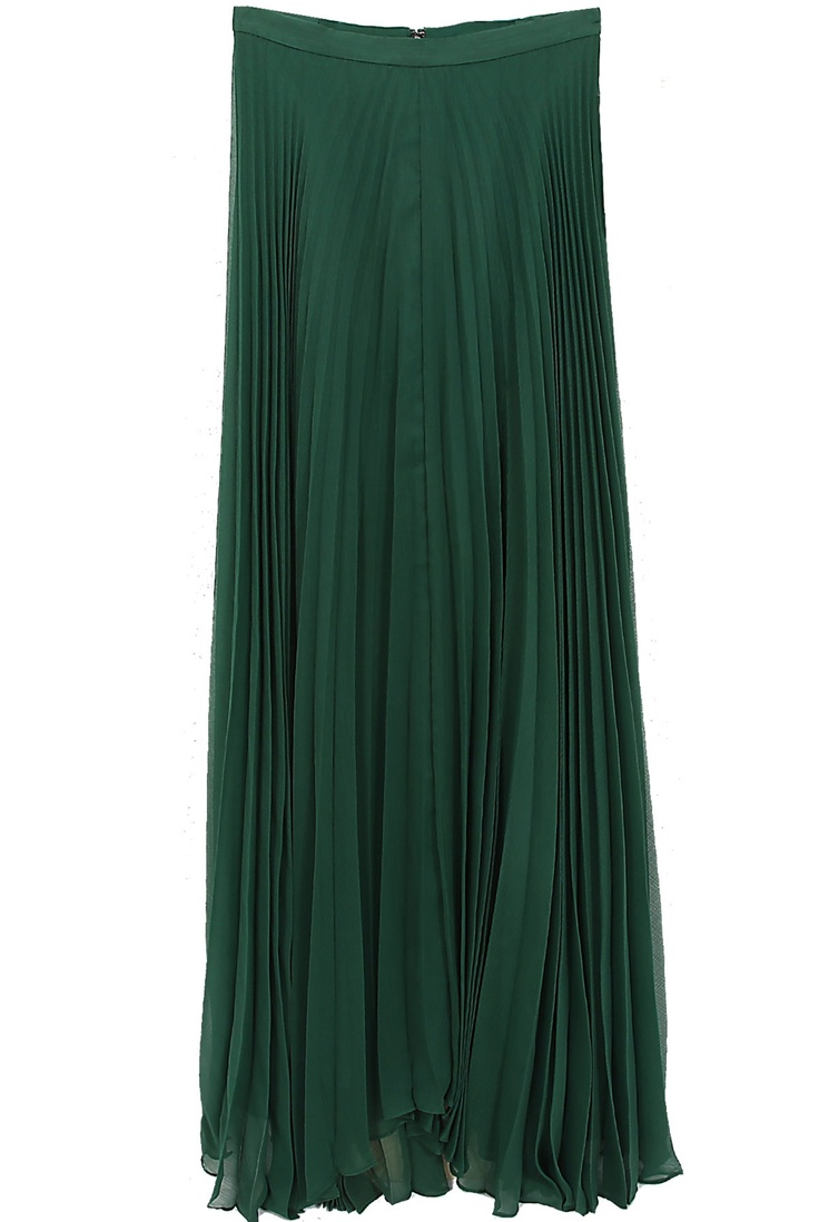 Alice + Olivia  Shannon Pleated Maxi Skirt in Emerald