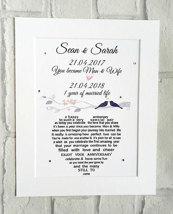 Personalised Paper Anniversary Gift Unframed First Wedding Anniversary Gift 1st Anniversary First Anniversary One Year Anniversary Paper Gifts Anniversary First Wedding Anniversary Gift Paper Anniversary