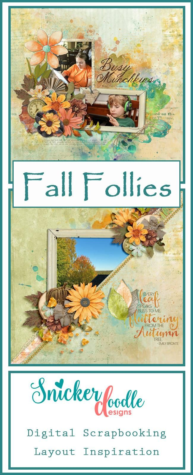 "Capture the whimsey of the season, while adding rustic charm to your digital scrapbook pages, when you use ""Fall Follies"" to scrap your memories. #SnickerdoodleDesigns  #digitalscrapbooking #FallFollies  #TheDigiChick http://www.thedigichick.com/shop/search.php?mode=search&page=1"