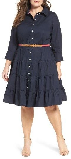 Plus Size Women's Eliza J Tiered Shirtdress