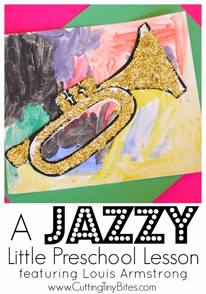 Preschool Black History Month Jazz Lesson.  Simple trumpet craft and jazz music lesson for preschoolers or older kids, focusing on Louis Armstrong and Ella Fitzgerald.