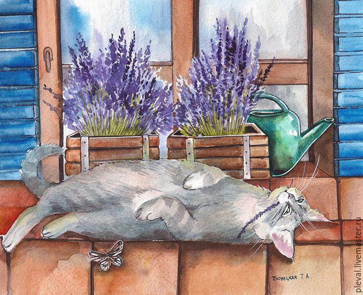Купить или заказать Картина акварелью с котом Лавандовое удовольствие серия в интернет-магазине на Ярмарке Мастеров. Серия картин с изображением кота в лаванде.