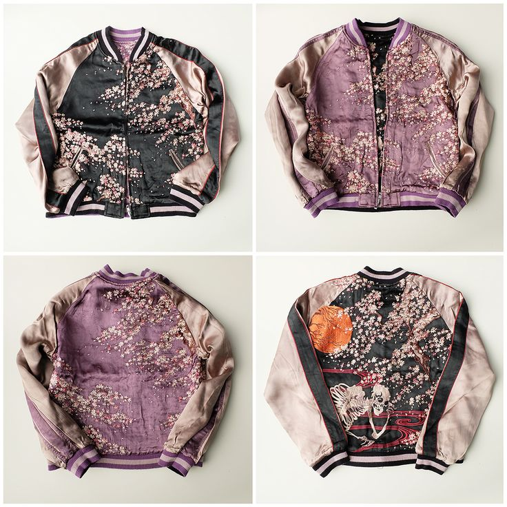 Japanese Classic SCRIPT Wagara Full Moon Skeleton Punk Rocker Sakura Cherry Blossoms Sukajan Jacket - Japan Lover Me Store