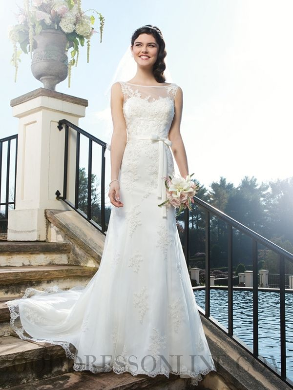 Lace Sheath / Column Bateau Court Train Lace Wedding Dresses