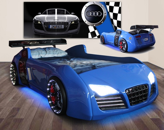 Kids Beds, Kids Beds Sydney, Kids Beds Melbourne | Beds 4 Kids - Blue V8 Quattro Car Bed