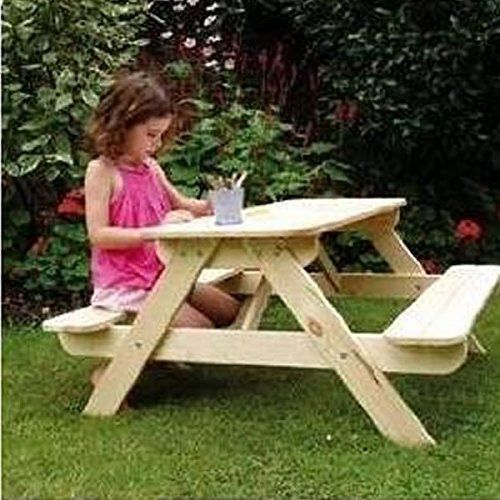 children table bench kids wooden picnic set furniture patio indoor outdoor seat