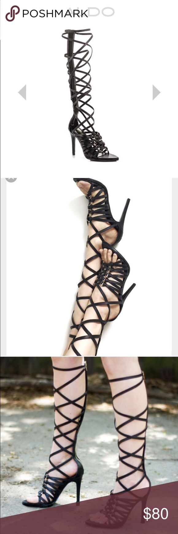 ALDO Ponente Black Leather Strap Up Heel Very stylish, brand new never worn strap up heels! Listed cheaper on Ⓜ️ feel free to ask questions Aldo Shoes Heels